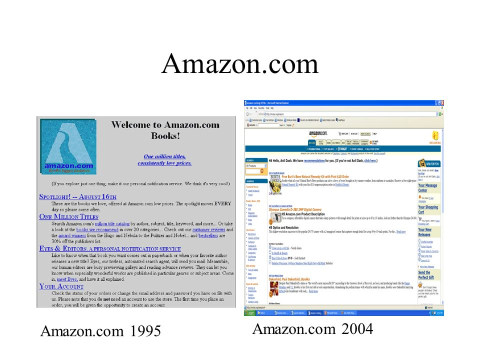 Amazon.com Amazon.com 1995 Amazon.com 2004