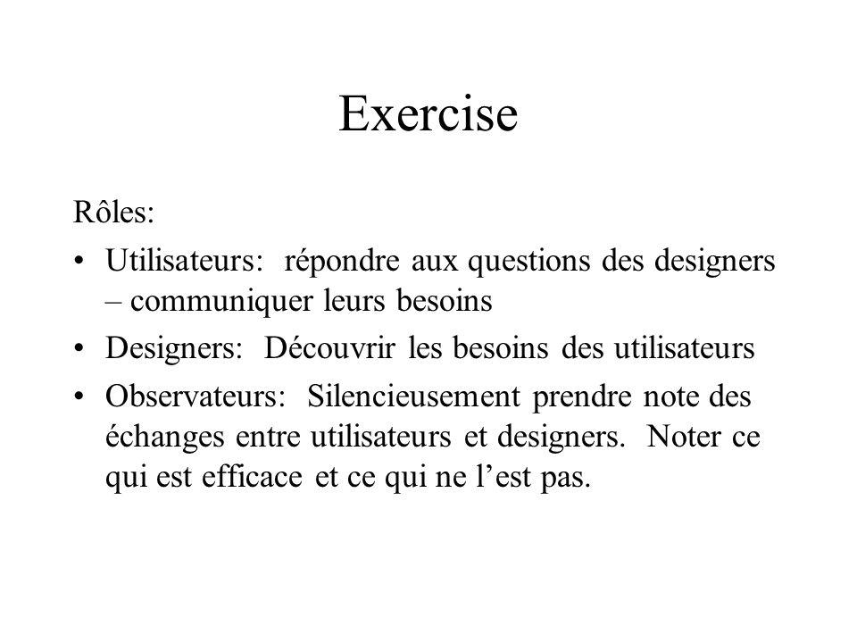 Exercise Rôles: Utilisateurs: répondre aux questions des designers – communiquer leurs besoins. Designers: Découvrir les besoins des utilisateurs.