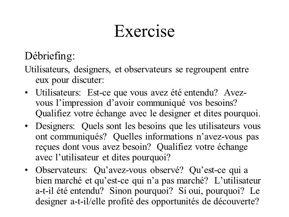 Exercise Débriefing: Utilisateurs, designers, et observateurs se regroupent entre eux pour discuter: