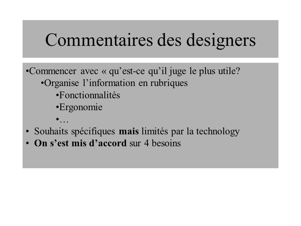 Commentaires des designers