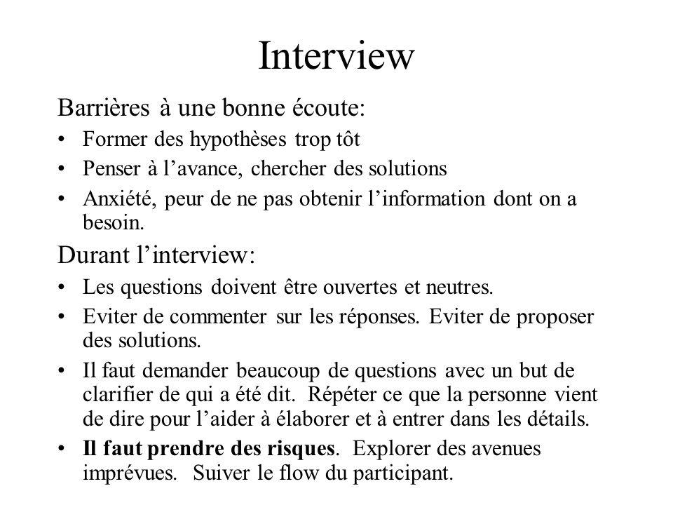 Interview Barrières à une bonne écoute: Durant l'interview: