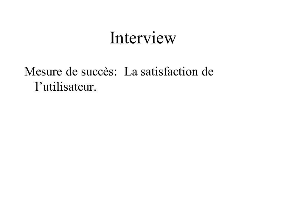 Interview Mesure de succès: La satisfaction de l'utilisateur.