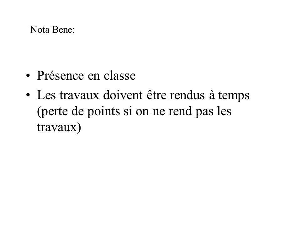 Nota Bene: Présence en classe.