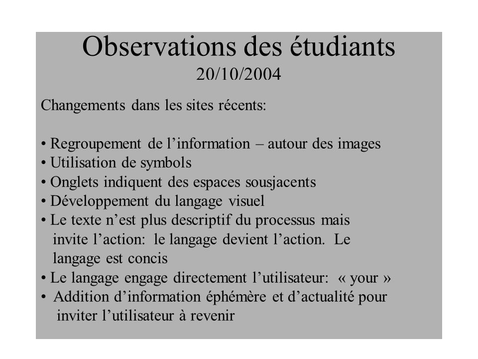Observations des étudiants 20/10/2004