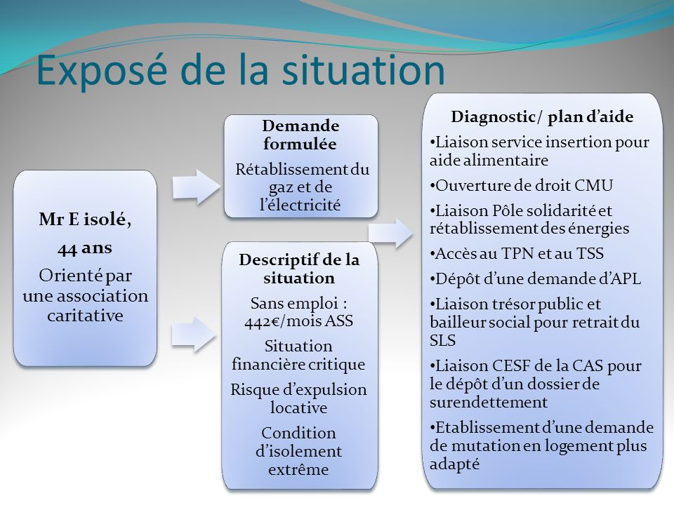 Diagnostic/ plan d'aide Descriptif de la situation