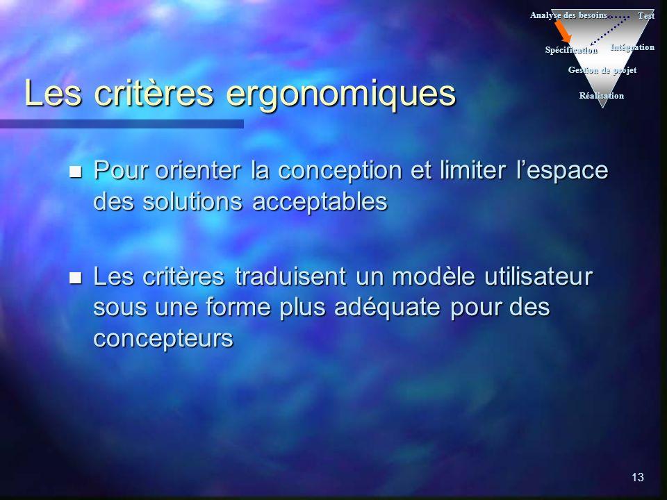 Les critères ergonomiques