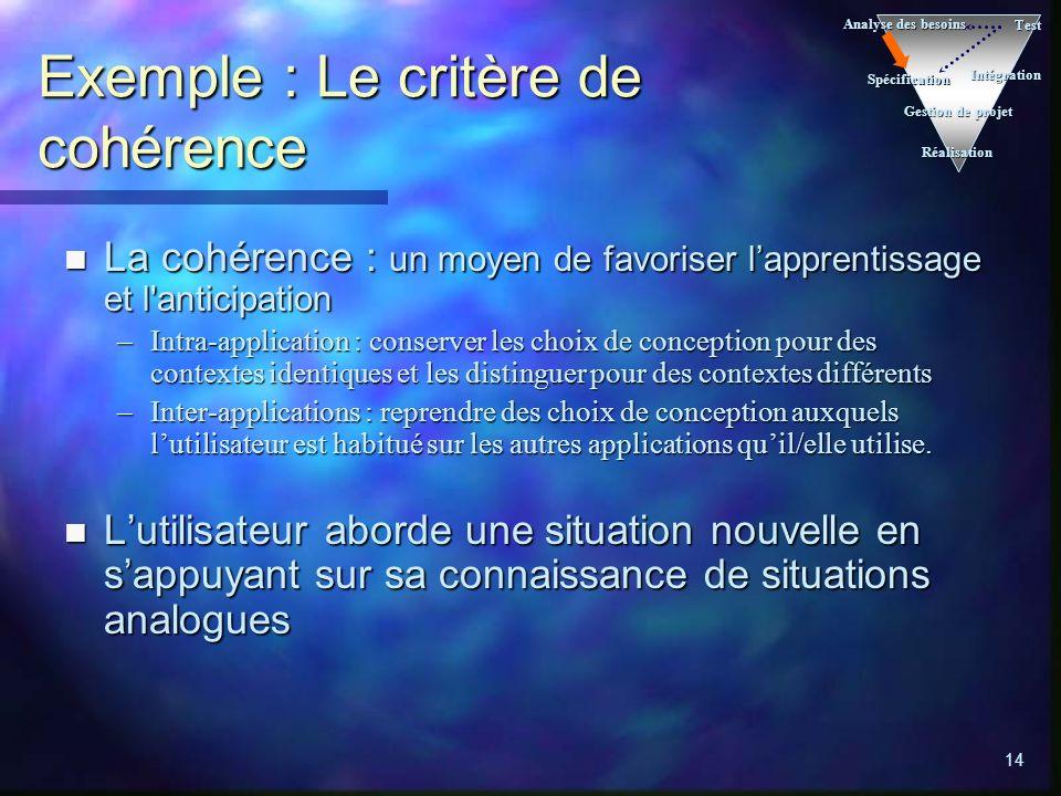 Exemple : Le critère de cohérence