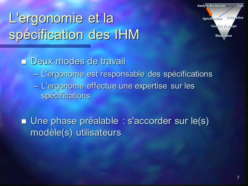 L ergonomie et la spécification des IHM