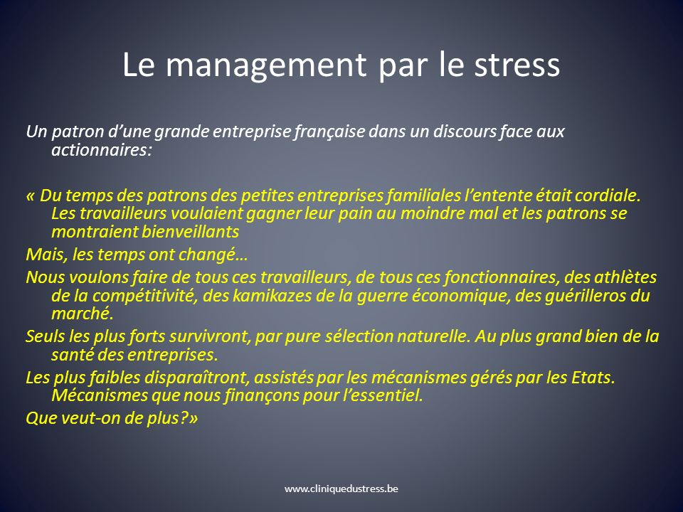 Le management par le stress
