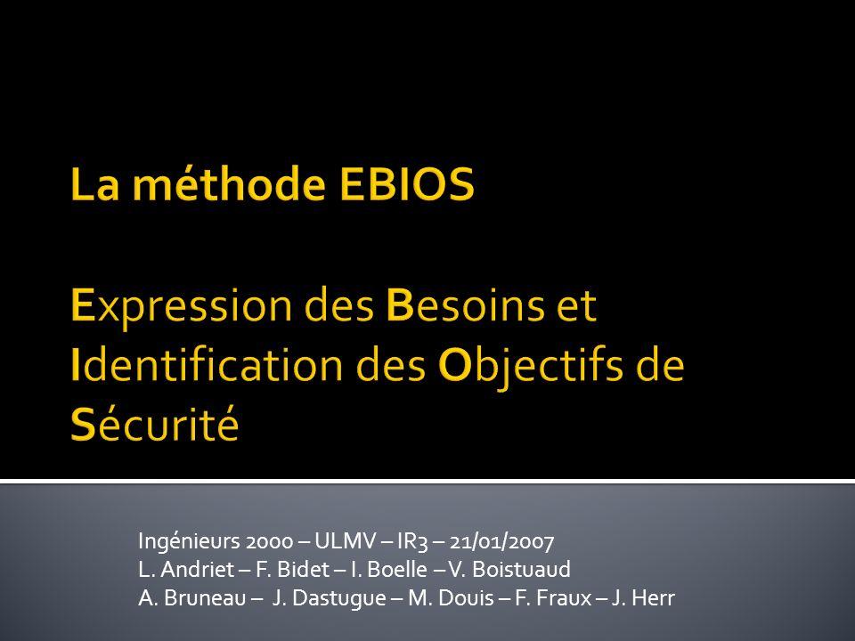 La méthode EBIOS Expression des Besoins et Identification des Objectifs de Sécurité