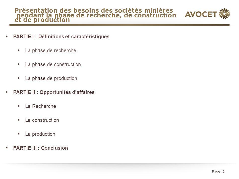 Présentation des besoins des sociétés minières pendant la phase de recherche, de construction et de production