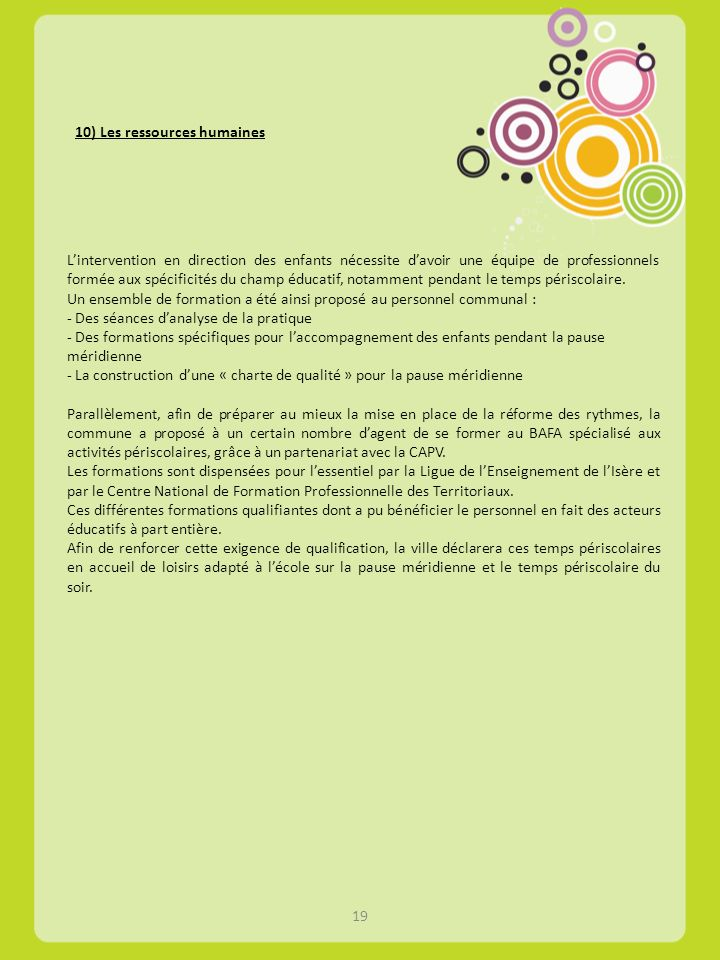 10) Les ressources humaines