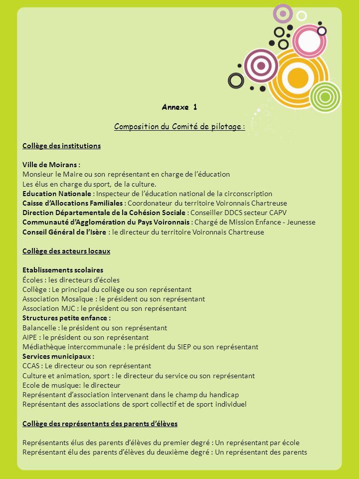 Composition du Comité de pilotage :