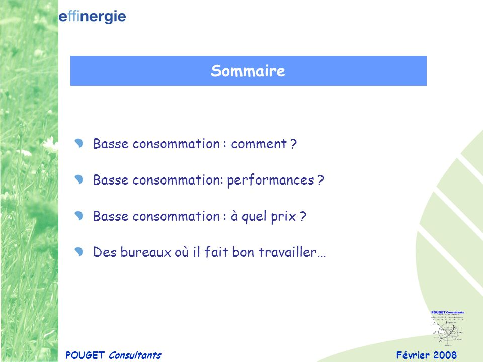 Sommaire Basse consommation : comment