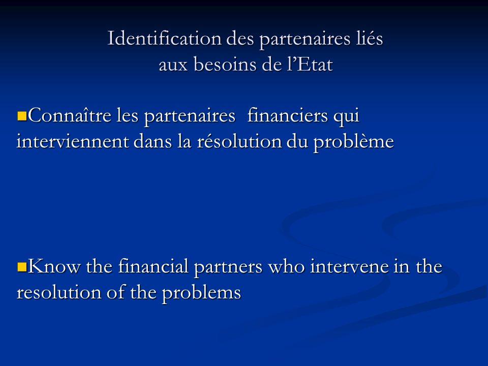 Identification des partenaires liés aux besoins de l'Etat