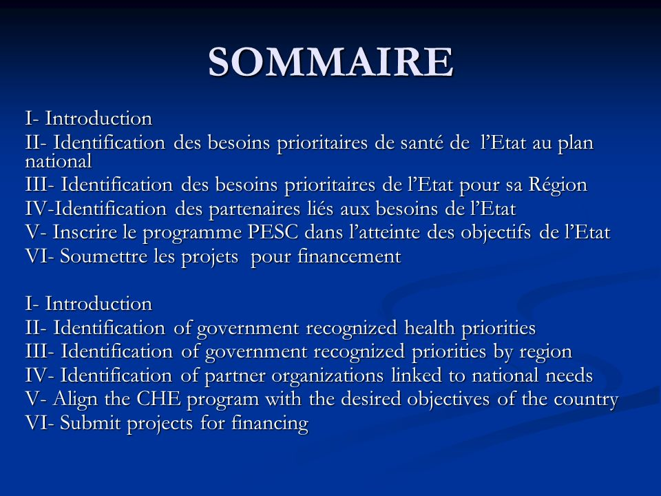 SOMMAIRE I- Introduction