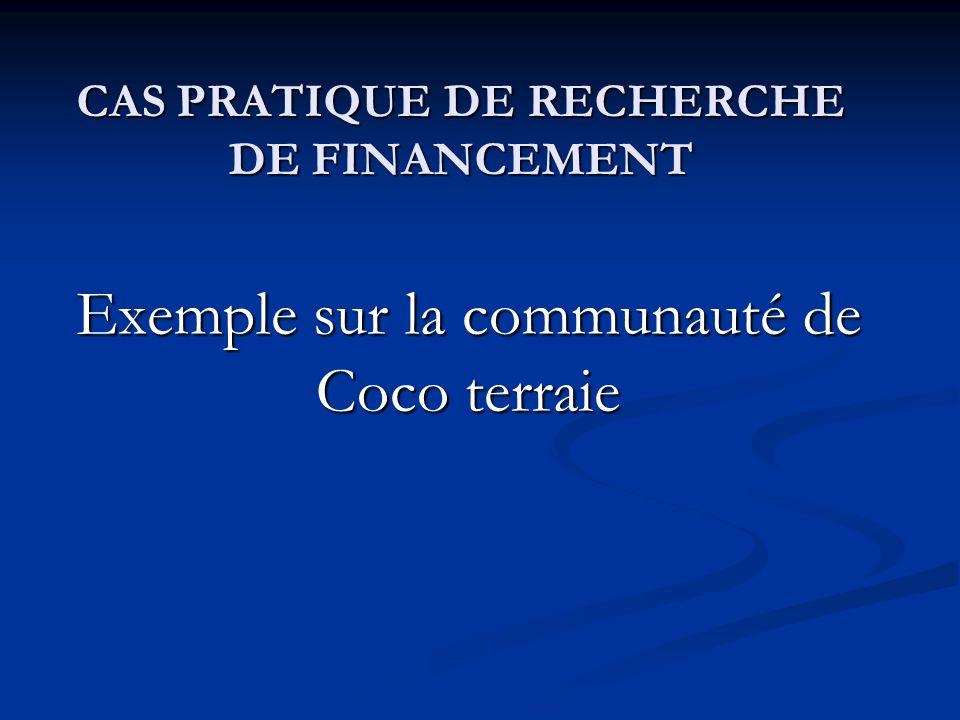 CAS PRATIQUE DE RECHERCHE DE FINANCEMENT