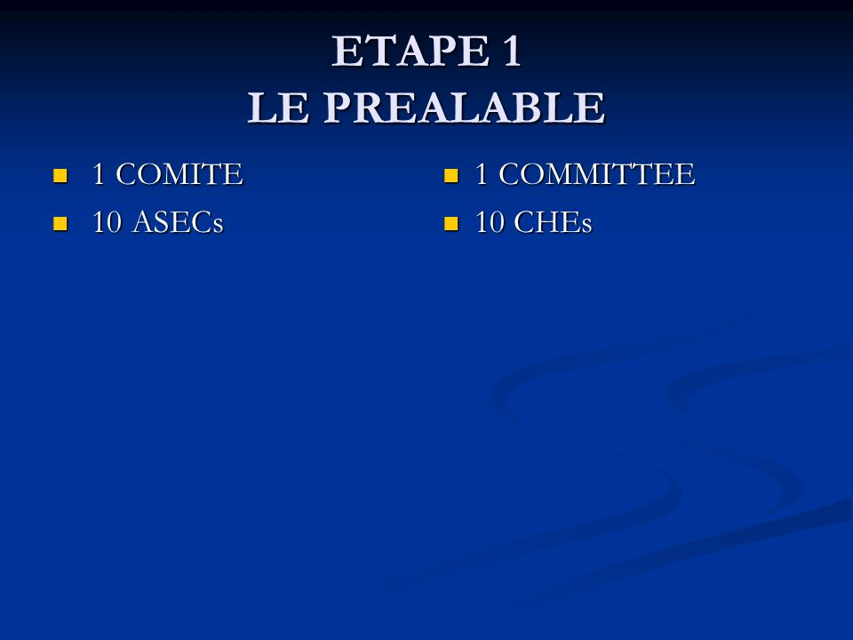 ETAPE 1 LE PREALABLE 1 COMITE 10 ASECs 1 COMMITTEE 10 CHEs