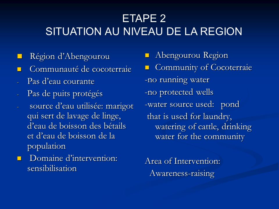 SITUATION AU NIVEAU DE LA REGION