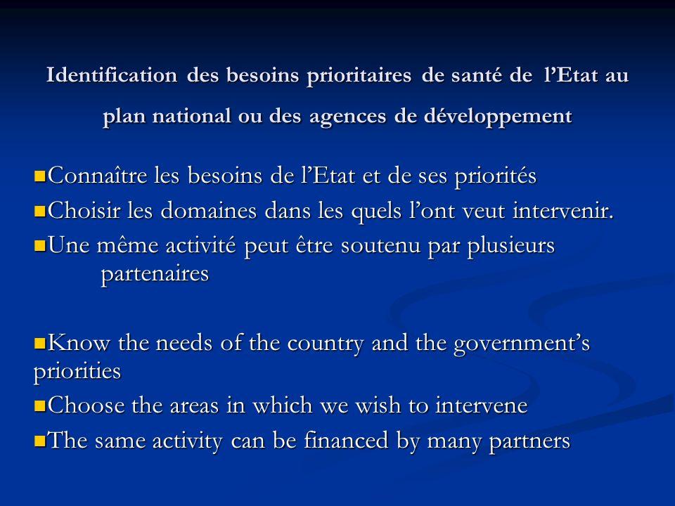 Connaître les besoins de l'Etat et de ses priorités
