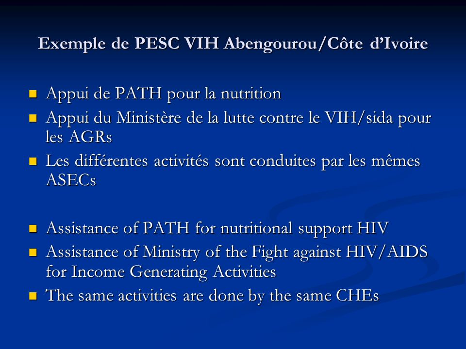 Exemple de PESC VIH Abengourou/Côte d'Ivoire