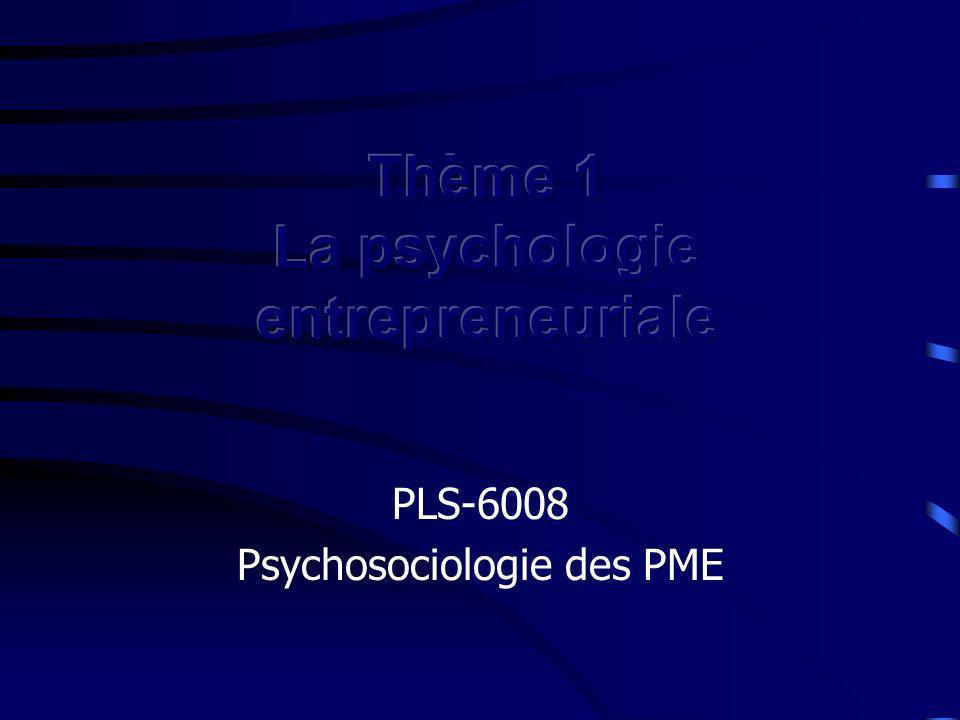 Thème 1 La psychologie entrepreneuriale