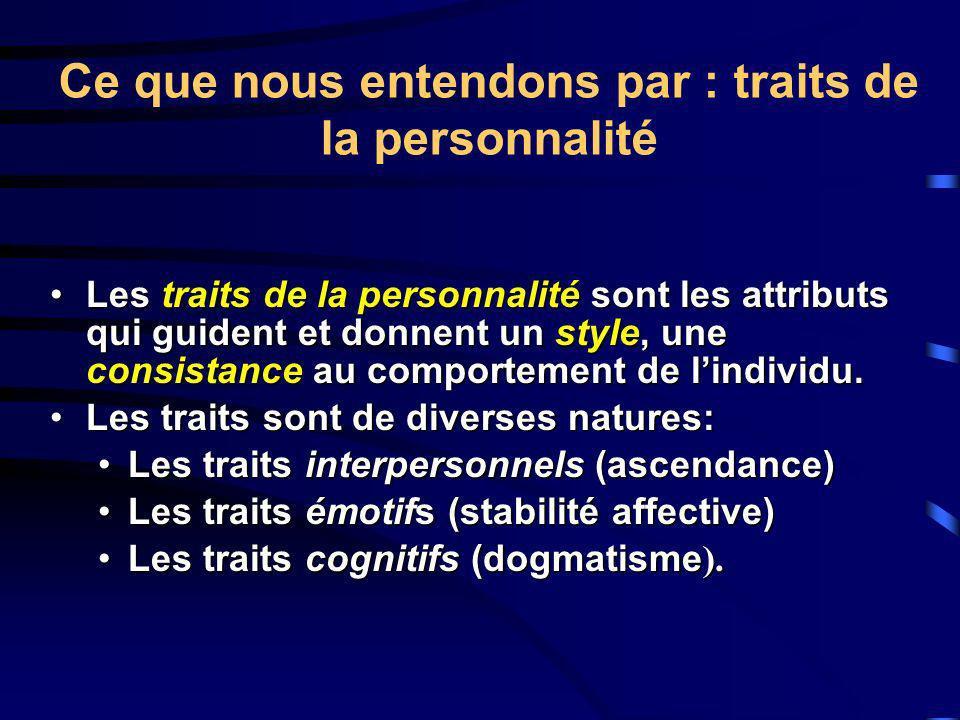 Ce que nous entendons par : traits de la personnalité
