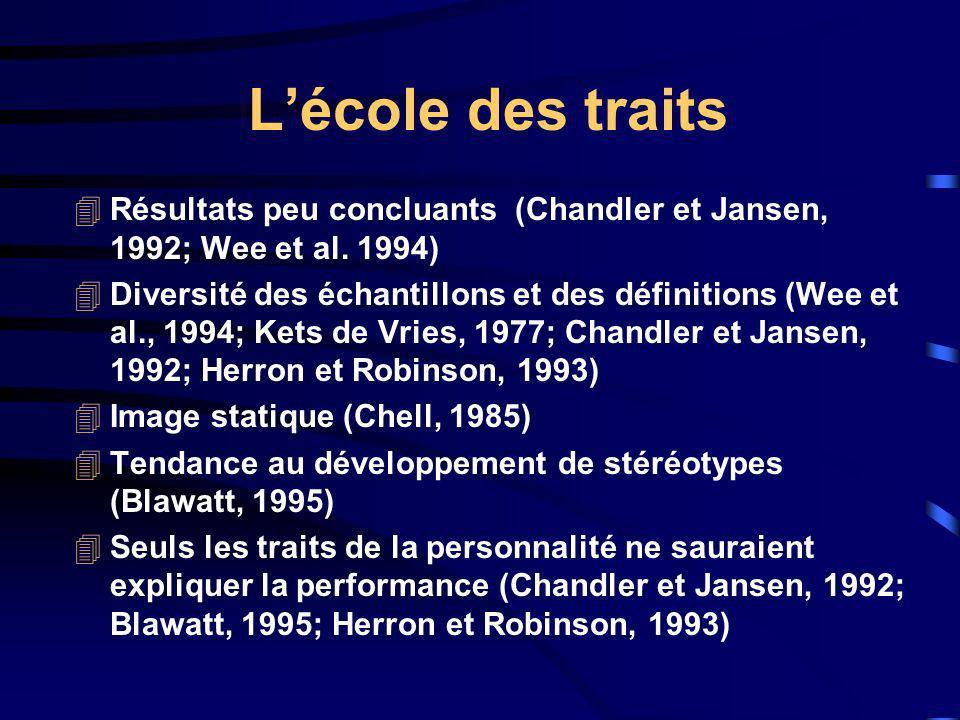 L'école des traits Résultats peu concluants (Chandler et Jansen, 1992; Wee et al. 1994)