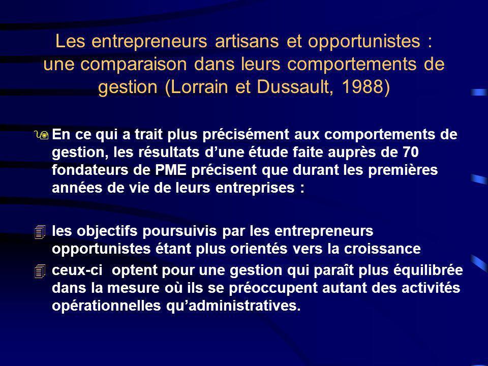 Les entrepreneurs artisans et opportunistes : une comparaison dans leurs comportements de gestion (Lorrain et Dussault, 1988)