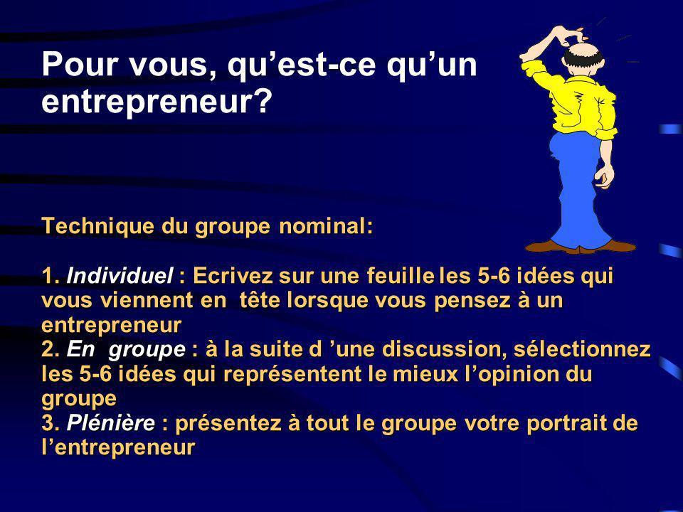 Pour vous, qu'est-ce qu'un entrepreneur. Technique du groupe nominal: 1.