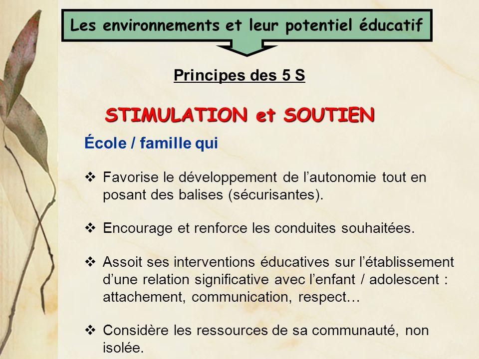 Les environnements et leur potentiel éducatif STIMULATION et SOUTIEN