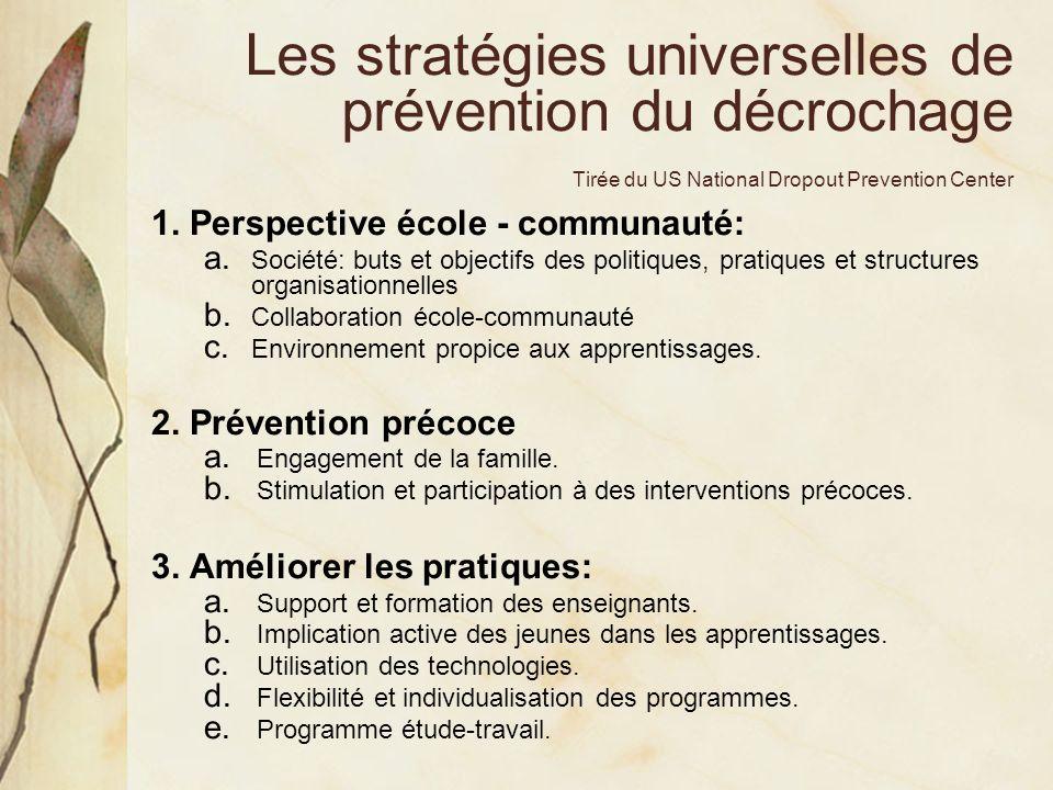 Les stratégies universelles de prévention du décrochage