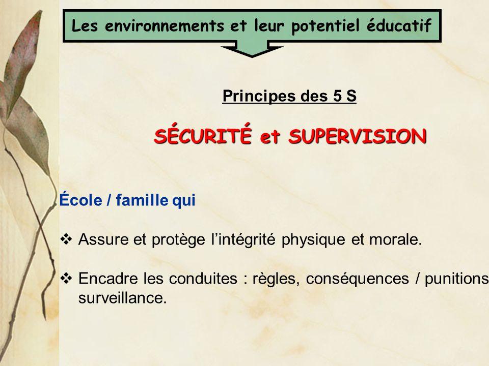 Les environnements et leur potentiel éducatif SÉCURITÉ et SUPERVISION