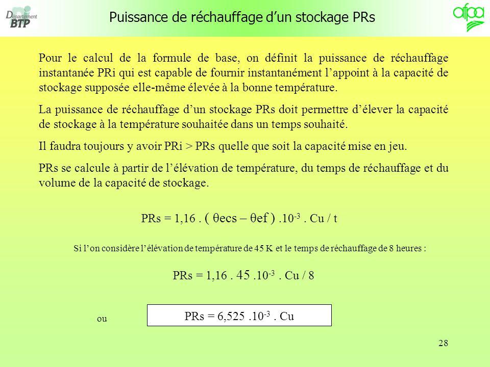 Puissance de réchauffage d'un stockage PRs