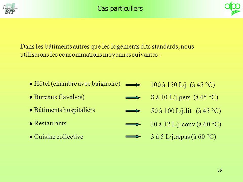 Cas particuliers Dans les bâtiments autres que les logements dits standards, nous utiliserons les consommations moyennes suivantes :
