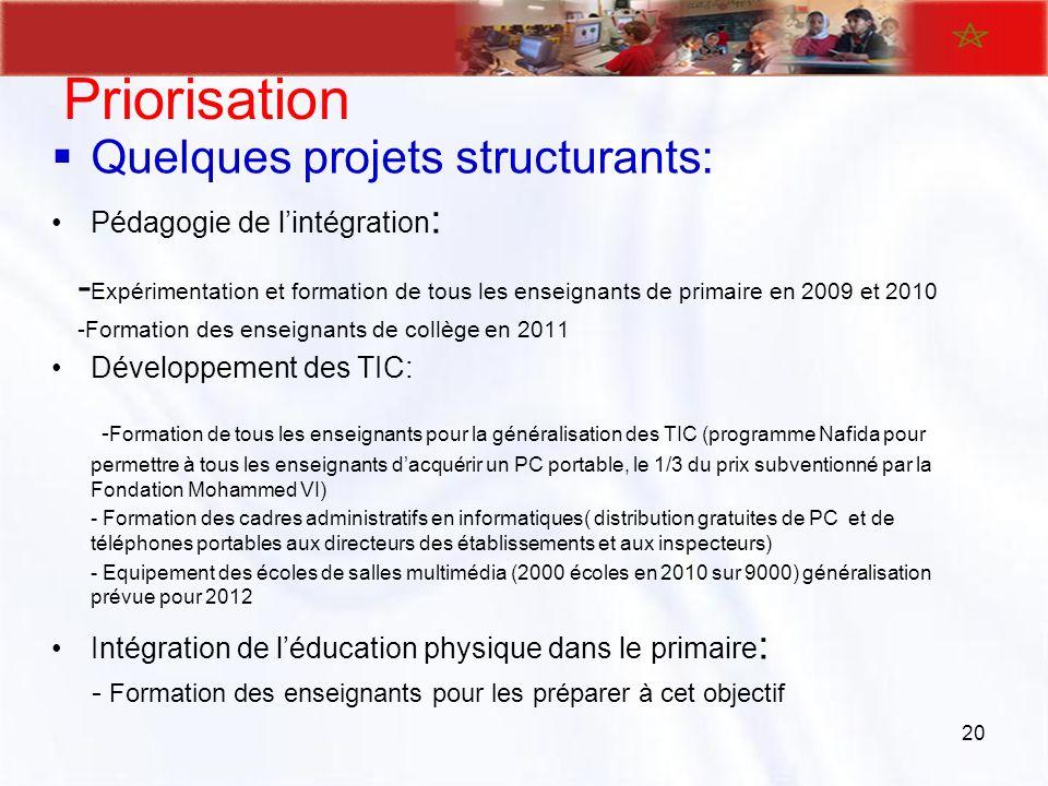 Priorisation Quelques projets structurants: