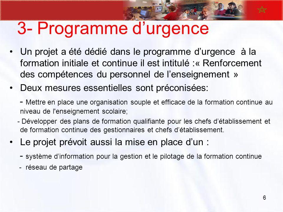 3- Programme d'urgence
