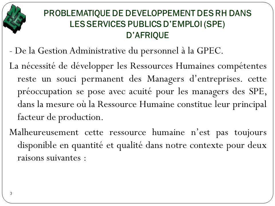 PROBLEMATIQUE DE DEVELOPPEMENT DES RH DANS LES SERVICES PUBLICS D'EMPLOI (SPE) D'AFRIQUE