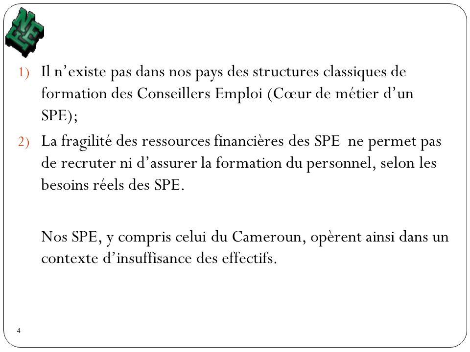 Il n'existe pas dans nos pays des structures classiques de formation des Conseillers Emploi (Cœur de métier d'un SPE);