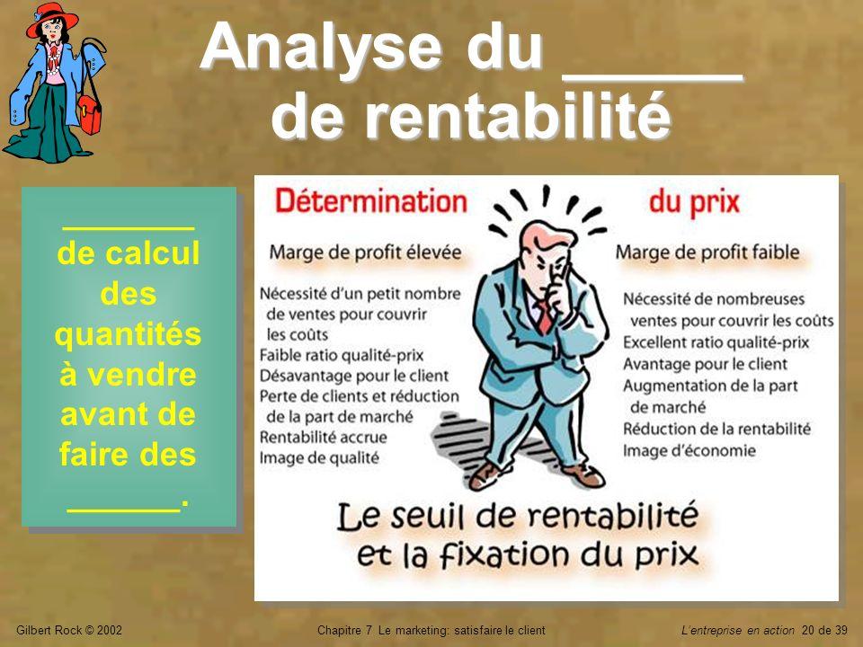 Analyse du _____ de rentabilité