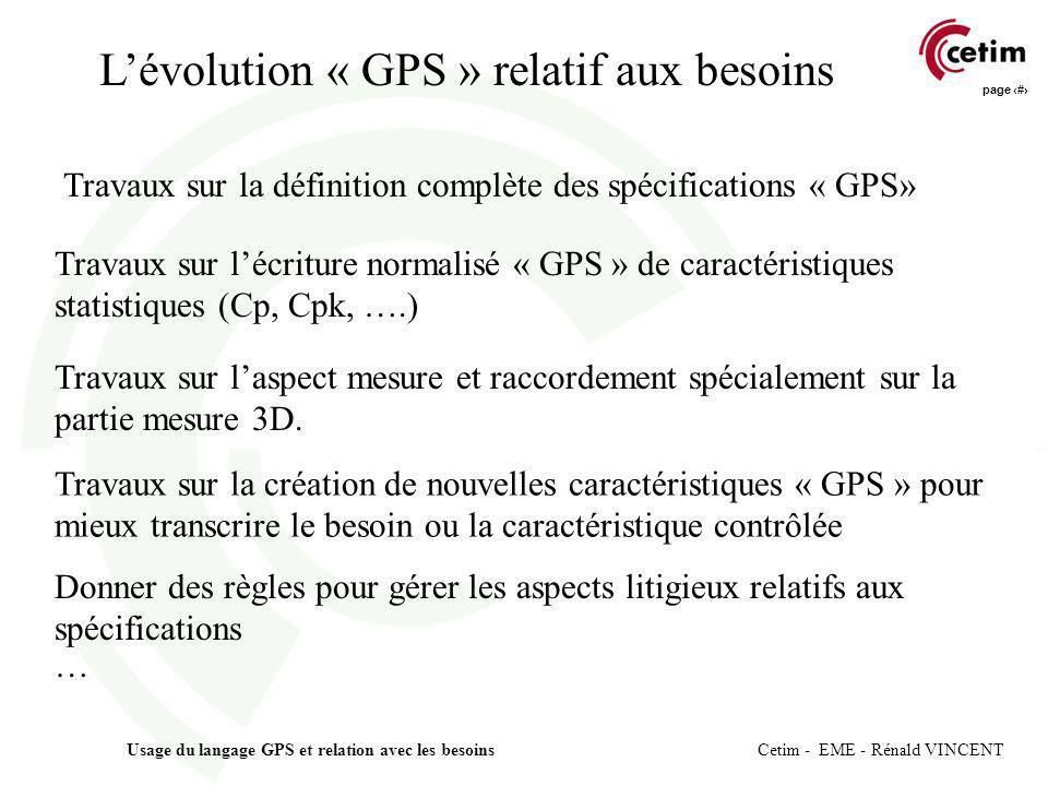 L'évolution « GPS » relatif aux besoins