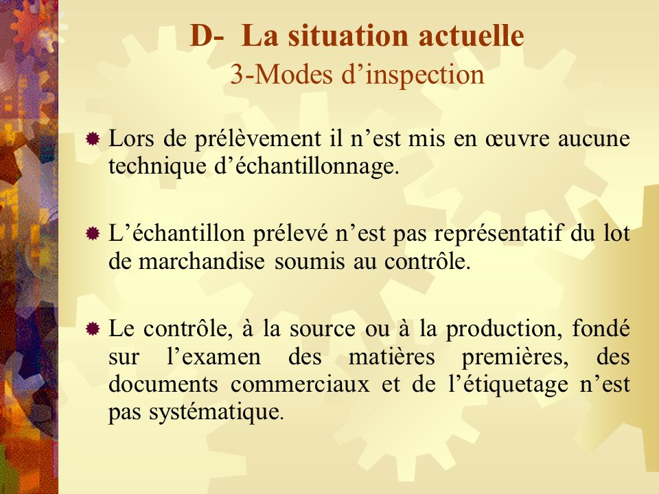 D- La situation actuelle 3-Modes d'inspection