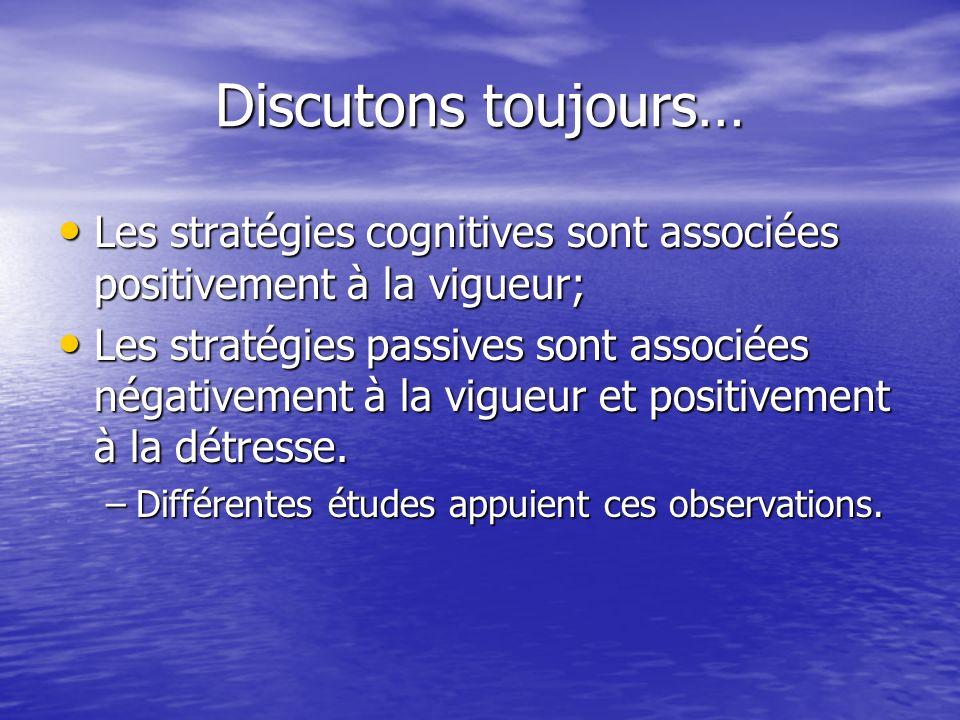 Discutons toujours… Les stratégies cognitives sont associées positivement à la vigueur;