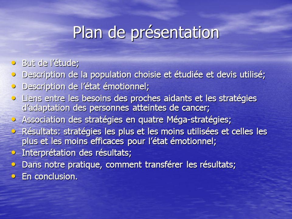 Plan de présentation But de l'étude;