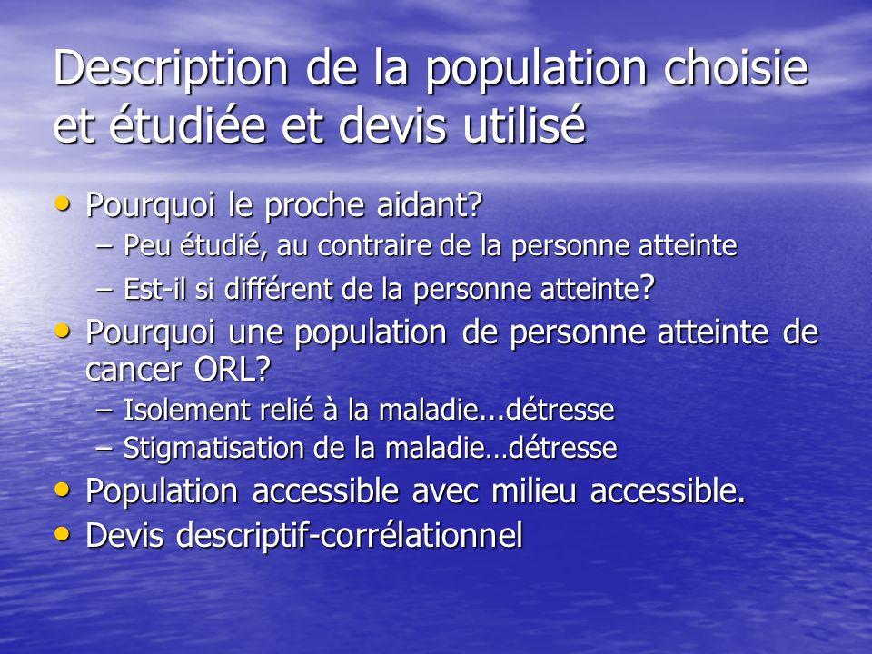 Description de la population choisie et étudiée et devis utilisé
