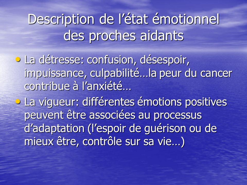 Description de l'état émotionnel des proches aidants