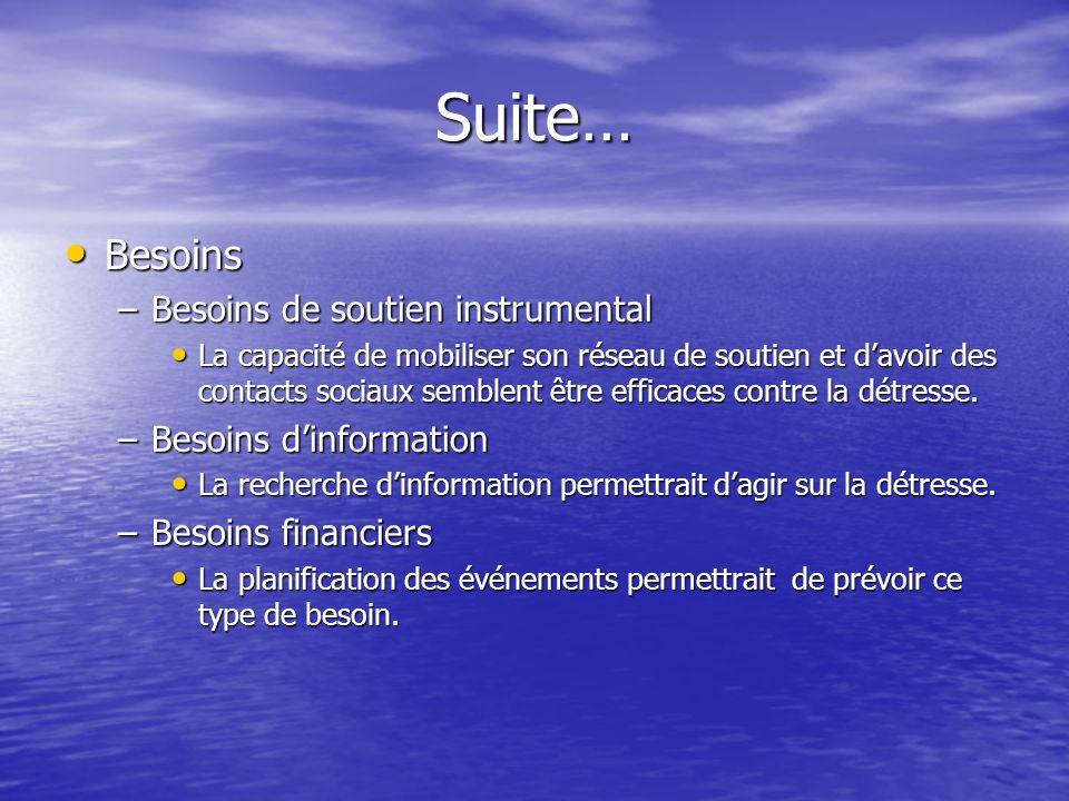 Suite… Besoins Besoins de soutien instrumental Besoins d'information