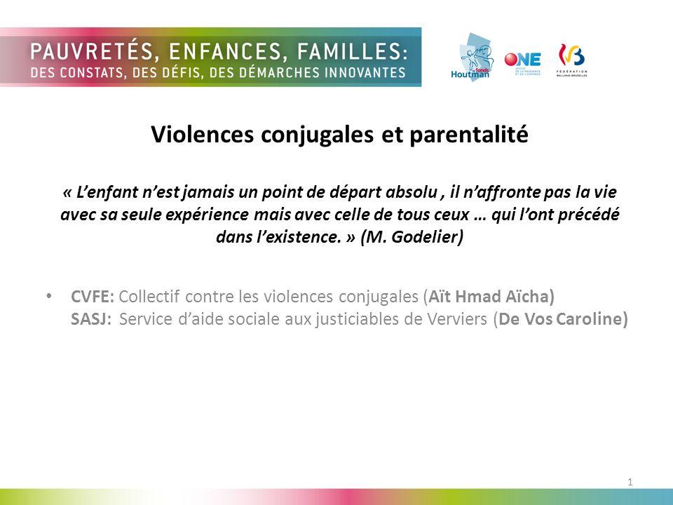 Violences conjugales et parentalité « L'enfant n'est jamais un point de départ absolu , il n'affronte pas la vie avec sa seule expérience mais avec celle de tous ceux … qui l'ont précédé dans l'existence. » (M. Godelier)