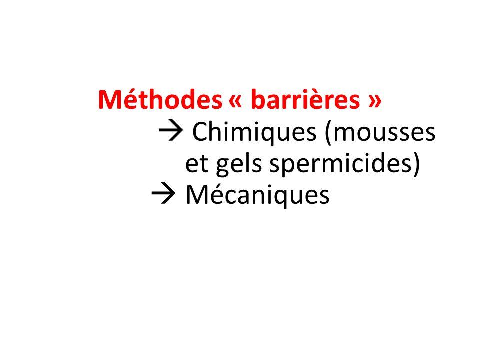 Méthodes « barrières »  Chimiques (mousses et gels spermicides)  Mécaniques