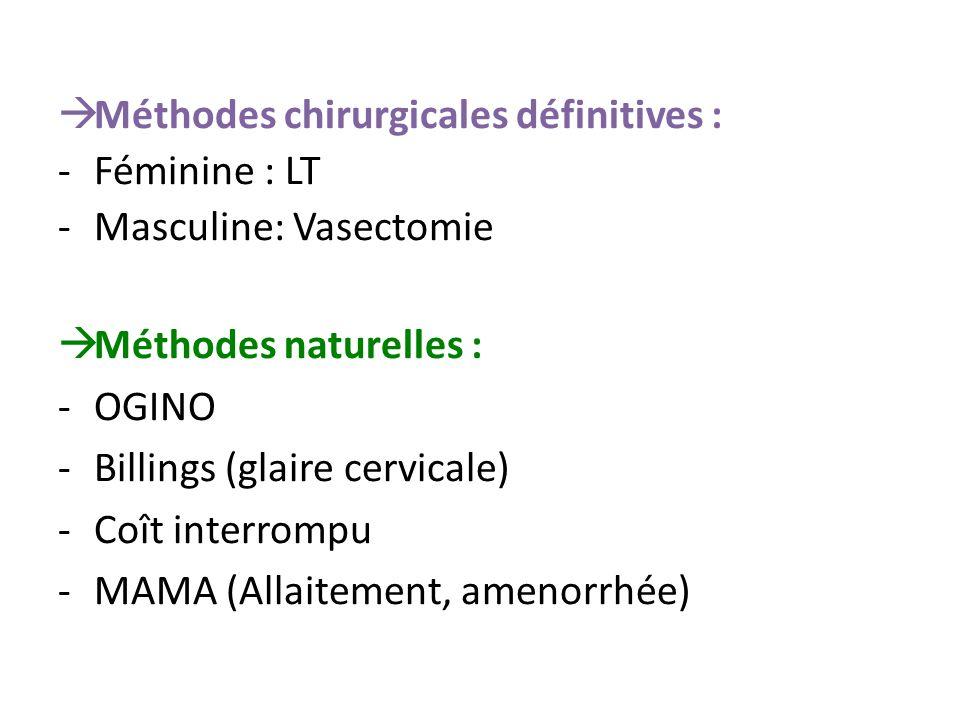 Méthodes chirurgicales définitives :